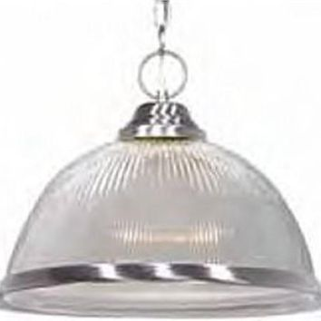 """Nuvo 76-446 - 15"""" Brushed Nickel Pendant Light Fixture with Clear Prismatic Dome"""