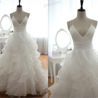 A Line V Neck Wedding Dress, Leak Back Wedding Gown, Modern Wedding Dress