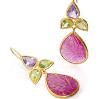 18K Yellow Gold Ruby Peridot And Amethyst Earrings by Bahina - Moda Operandi