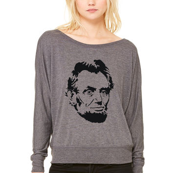 Abe Lincoln WOMEN'S FLOWY LONG SLEEVE OFF SHOULDER TEE
