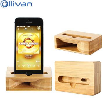 OLLIVAN Wood Phone Holder For iPhone X  7 8 6 6S Plus Sound Amplifier Stand Mobile Phone Stand Desk Holder Loudspeaker Stand