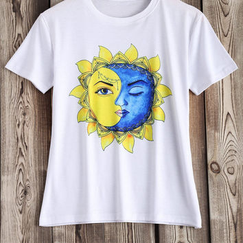 White Artistic Sun and Moon Pattern Tee