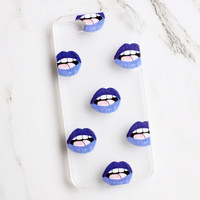 Clear Blue Lips iPhone Case