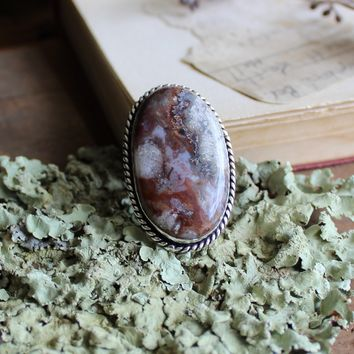 Size 7.5 - Crazy Lace Agate Silvertone Ring