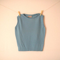 Vintage. MINT NWT. 50's. Koret of California. Sweater Vest. Baby Blue. Stretchy. Boat Neckline. Sleeveless. Preppy. Retro. Mad Men. Small S