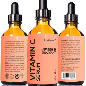 Eve Hansen Vitamin C Serum 2 Ounces - Organic and Natural Ingredients Vit C Serum With Hyaluronic Acid To Reduce Wrinkles. A Collagen Serum, Brightening Serum and Acne Scar Treatment.