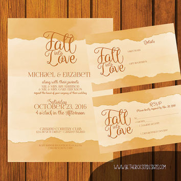 Formal Wedding Invitation / Fall Wedding Invitation / Fall Into Love / Watercolor wedding invitation / Digital Wedding Invitation / Autumn