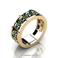 Mens Modern 14K Yellow Gold Emerald Skull Channel Cluster Wedding Ring R913-14KYGEM