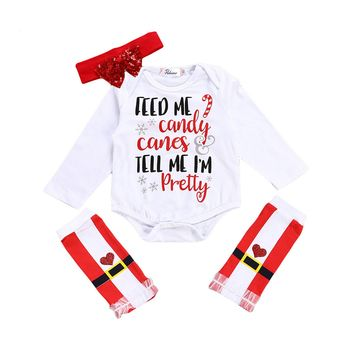 3PCS Feed Me Candy Romper+Leg Warmer and Headgear Christmas Set Newborn Baby