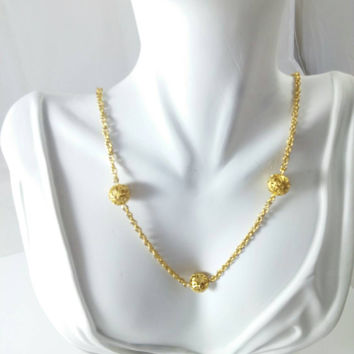 Gold Necklace w/ Stationed Filigree Spheres- Vintage from the 1970s/80s Gold Tone Chain Necklace w/ 5 Filigree Balls Stationed