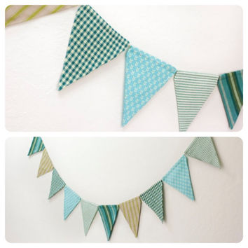 Fabric Double-sided Bunting Flag Pennant Banner, Boy's Room, Dorm Decor, Birthday Party, Baby, Wedding, Photo Prop (10 ft.) // Green & Teal