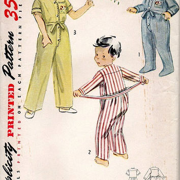1950s Toddler Boy Girl One Piece Pajamas Pjs Playsuit Drop Seat Footsie Sleeper Simplicity Sewing Pattern Size 4