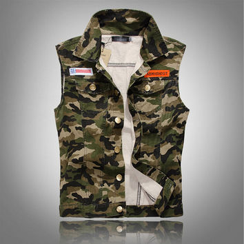 Cool Fashion Casual Mens Sleeveless Slim Fit Camouflage Jeans Outwear Denim Vest