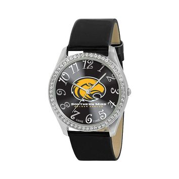 Game Time Glitz Southern Miss Golden Eagles Silver Tone Crystal Watch - COL-GLI-SMS - Women (Black)