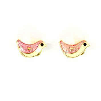 Tiny Bird Earrings Vintage Gold Tone Canary Posts EF49 Fashion Jewelry