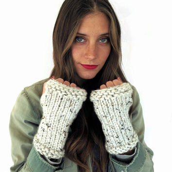 Chunky Soft Knit Fingerless Gloves Mittens Wrist Warmers // Gauntlets in Snows of Kilimanjaro // Many Colors and Vegan Options Available