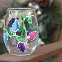 Set of 4 Christmas Lights Wine Glasses, Stemless  / Hand Painted Stemless Wine Glasses / Winter Wine Glasses