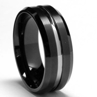 8MM Two Tone High Polish / Matte Finish Men's Tungsten Ring Wedding Band Size 8