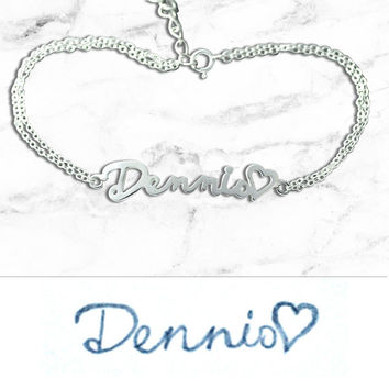 Handcrafted Sterling Silver Bracelet Designed From Your Handwriting