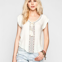 Eyeshadow Embroidered Womens Peasant Top White  In Sizes