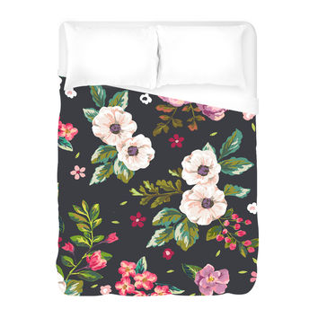 Dark Flowers Duvet Cover