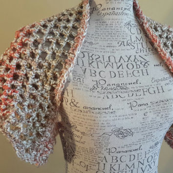 shrug. Crochet bolero. tan. coral summer top. Made by Bead Gs on ETSY.