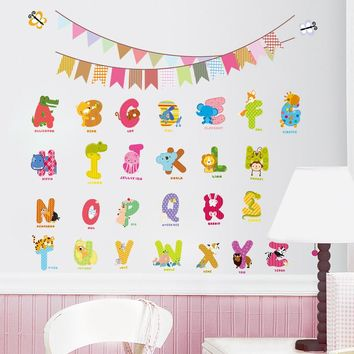 26 letters animals cute DIY wall sticker for kids room decorative baby children sdudy bedroom nursery birthday party decal