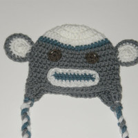 Boy Sock Monkey Hat 6-12 months or 1-4 years