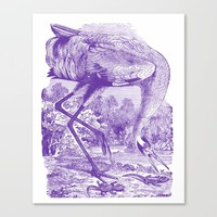 Purple Vintage Whooping Crane Illustration Canvas Print by Oona Lee Vintage