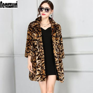 Nerazzurri Luxury Faux Fur Jacket Women 2018 Winter Leopard Coat Oversized Furry Fluffy Fake Fur Coats Plus Size 4XL 5XL 6XL 7XL