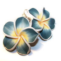 Hawaii Flowers Plumeria Frangipani steel blue and white leverback earrings