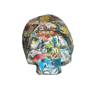 Paper Mache Skull Vintage Wolverine Marvel Comic Book Art Conversation Piece Home Decor