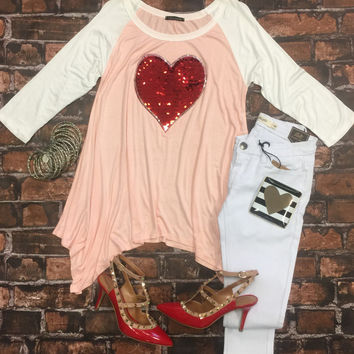 Be My Valentine Sequin Heart Top