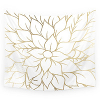 Society6 Gold Faux Foil Chic Floral Elegant Patte Wall Tapestry
