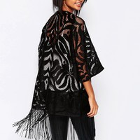 Vila Burnt Out Kimono With Fringe Detail at asos.com