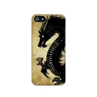 P1482 Black Dragon Painting Case Cover For IPHONE 5C