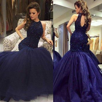 2017 Navy Major Beading Elegant Mermaid Prom Dresses Vestidos De Fiesta Halter Neck Keyhole Back Fitted Evening Party Gowns Rece