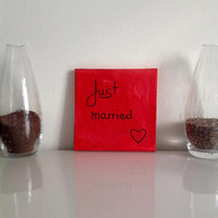 Just married  - small canvas red black - Wall Art Canvas handmade written- original by misssfaith