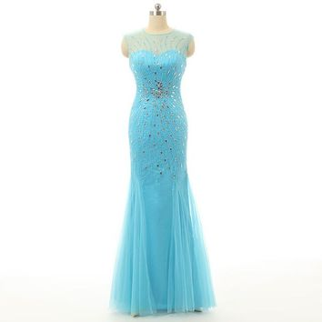 New Designer Sexy Scoop Zipper Tulle Prom Dresses Long Mermaid Evening Dress Formal Dresses
