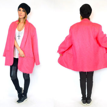vintage 1980s oversized MOHAIR WOOL minimalist bubblegum pink bold boyfriend shaggy COAT, one size fits most