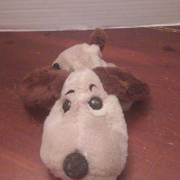 "vintage gund tan & brown puppy dog plush laying down 7"" long"