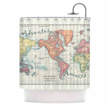 """Catherine Holcombe """"Adventure Awaits World Map"""" Beige Pink Mixed Media Vintage Travel Shower Curtain"""