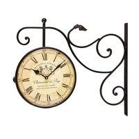 "Adeco Black Iron Vintage-Inspired Round Double-Sided Wall Hanging Clock with Scroll Wall Mount ""Chateau Renier"" Home Decor"