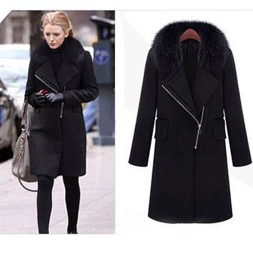 Elegant Wool Oblique Zipper Faux Fur Coat