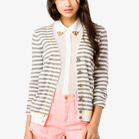 Striped V-Neck Cardigan