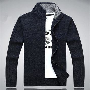 2015 New Winter Autumn Sweaters Men Casual 80% Wool Cardigan Man Brand Outerwear blusa masculina Army Green White Blue A0370