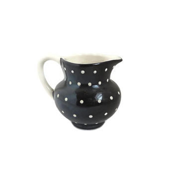 Vintage Gray's Pottery Mini-Creamer, Black & White Polka Dot Pitcher, Small Collectible Creamer, British Pottery, Hand Painted Creamer