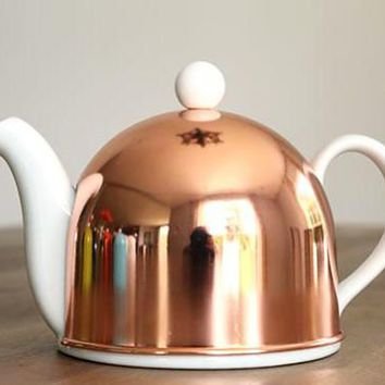 Delilah Porcelain Teapot, Copper Plated Stainless Steel Cover- USA shipment only