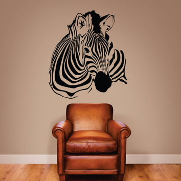 Zebra Wall decal, Zebra Stripe Decal, Zebra Decor, Zebra Art, Zebra Bust Decal, Zebra Stripes, Jungle Decor