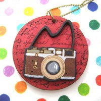 Handmade Camera Lens Photography Pendant Necklace in Red on Wood